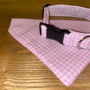 Waggle Mail Collar & Bandana - Pink Gingham